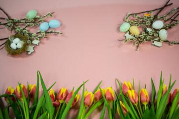 Background for easter, easter nest, catkins, easter eggs, pink background