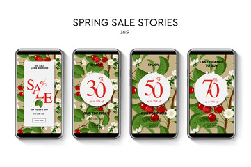 Set of Spring Sale web banners for social media mobile apps. Sale and discount promo, vector illustration.