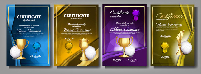 Volleyball Game Certificate Diploma With Golden Cup Set Vector. Sport Award Template. Achievement Design. Honor Background. Elegant Document. Champion. Best Prize. Winner Trophy. Template Illustration