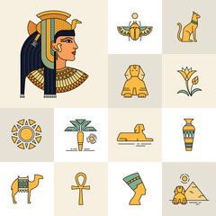 Icon set with an illustration of an Egyptian goddess, Egyptian queen or Egyptian woman. Isolated on white background set of icons and illustrations related to Egypt.