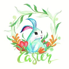 easter bunny with floral and butterfly hand drawn pastel