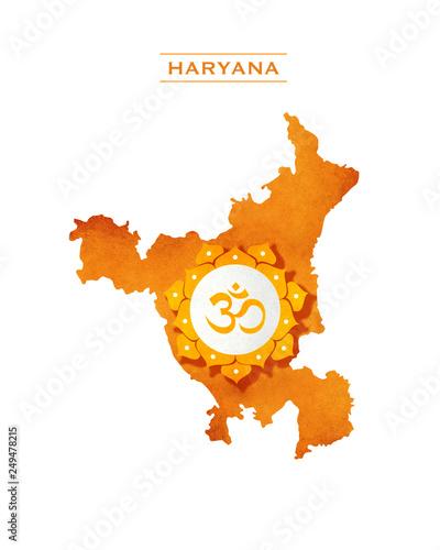 HARYANA STATE MAP OM SYMBOL