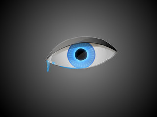 vivid blue eye with teardrop on dark background, last drop of water, sadness for the blue planet,