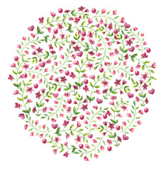 Circle of blooming ornate small red flowers with leaves