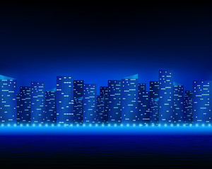 Bright night city landscape.