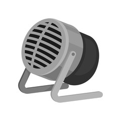Small gray metal microphone with stand. Sound recording equipment. Audio technology theme. Flat vector icon