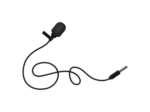 Small lavalier microphone with clip. Professional sound recording equipment. Lapel mic. Flat vector icon