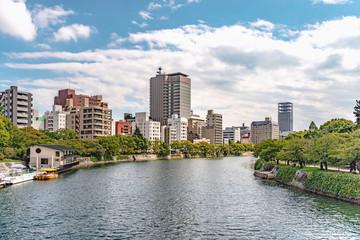 広島市街地風景 元安川と町並み風景