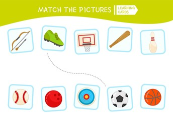 Matching children educational game. Match parts of sport equipment. Activity for pre sсhool years kids and toddlers.