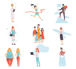 Women of Different Professions Set, Achievements of Young Women in Field of Science, Sport, Business, Society Vector Illustration