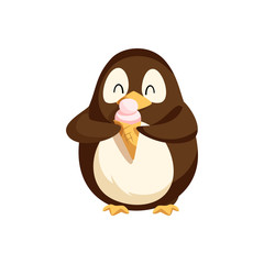 Penguin happily eating ice cream in cone vector. Antarctic animal with colored feathers enjoying meal, sweet dessert with crust pastry and top creamy