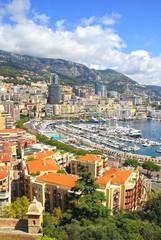 Fotobehang Athene Monaco harbour cityscape - Monte carlo city.