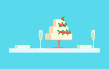 Wedding reception at restaurant vector, cake with berries. Glasses with champagne, empty plates dessert with cream, layers of baked biscuit with decoration