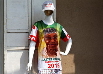A t-shirt depicting Nigeria's main opposition party presidential candidate Atiku Abubakar is displayed on a mannequin, before presidential election, in Abuja