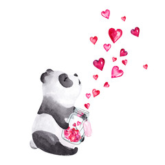 Hand drawn watercolor panda holding glass jar with hearts