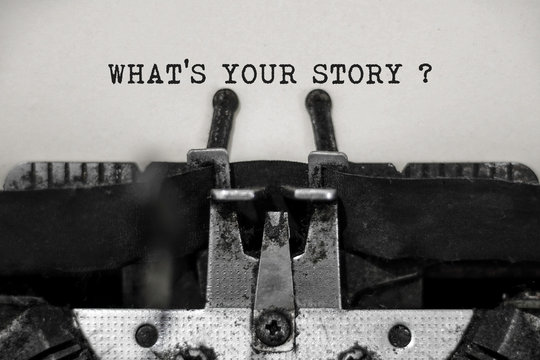 What's your story word with black and white typewriter concept