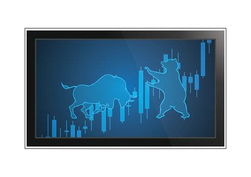 stock market bull bear candle stick monitor