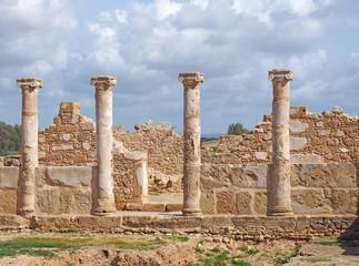 walls and columns the House of Theseus, Roman villa ruins at Kato Paphos Archaeological Park Paphos