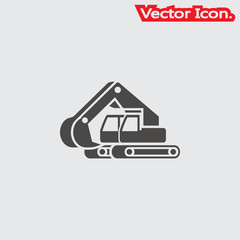 excavator icon isolated sign symbol and flat style for app, web and digital design. Vector illustration.