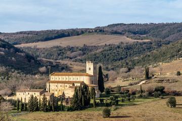 The beautiful Abbey of Sant'Antimo, Montalcino, Siena, Tuscany, Italy