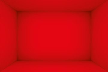 Empty red room. The inner space of the box. Vector design illustration. Mock up for you business project