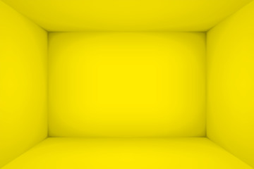 Empty yellow room. The inner space of the box. Vector design illustration. Mock up for you business project