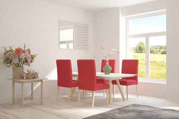 White stylish coral dinner room with summer landscape in window. Scandinavian interior design. 3D illustration