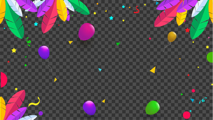 Colorful feather and balloons illustration on black transparent background for celebration concept.