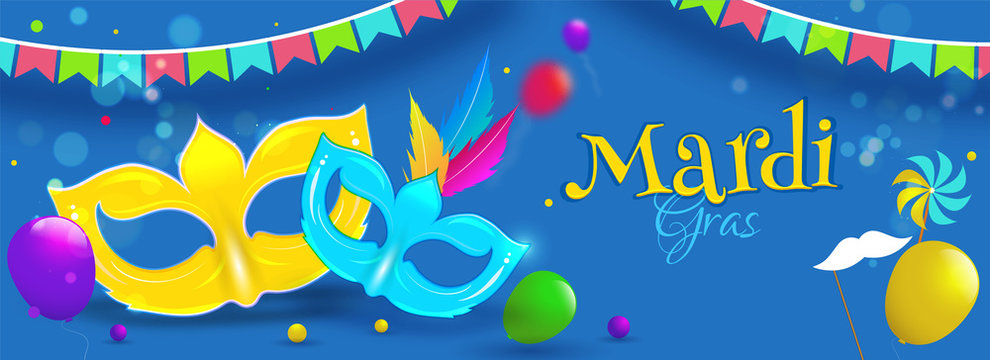 Flat style party masks and balloons on blue background for Mardi Gras header or banner design.