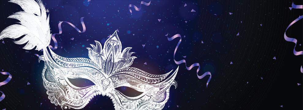 Doodle party mask illustration on shiny blue background for Carnival party concept header or banner design.