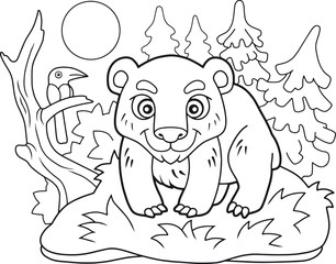 cartoon cute little bear, coloring book, funny illustration