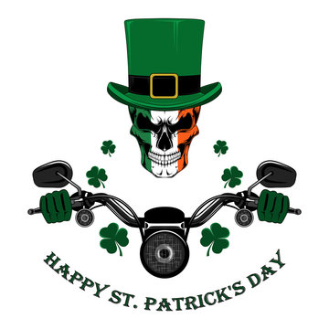 Vector image of St. Patrick's Day. Skull in a hat driving a motorcycle with clover leaves.