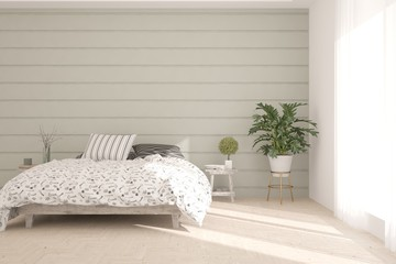 White stylish minimalist bedroom. Scandinavian interior design. 3D illustration