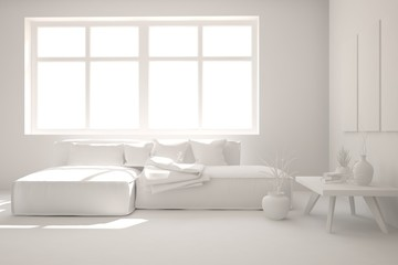 Stylish minimalist room with sofa in white color. Scandinavian interior design. 3D illustration