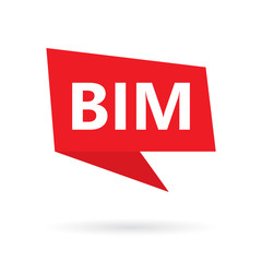 BIM (Building Information Modeling) acronym on a speach bubble- vector illustration