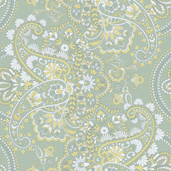 Paisley style Floral seamless pattern. Ornamental Damask background