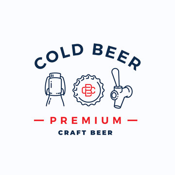 Craft Cold Beer Abstract Vector Beer Sign, Emblem or Logo Template. Growler Bottle, Cap and Beer Tap Icons with Vintage Monogram and Typography.