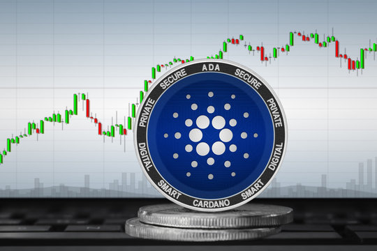 Cardano; cryptocurrency coins - Cardano (ADA) on the background of the chart