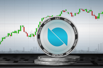 Ontology; cryptocurrency coins - Ontology (ONT) on the background of the chart