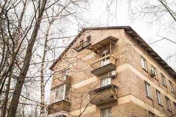 A brick soviet building