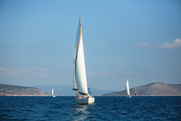 Wall Mural - Greece sailing yacht boat at Aegean Sea. Luxury cruise yachting.
