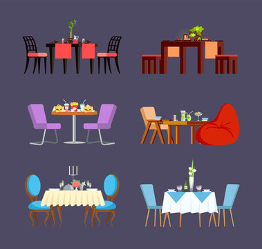 Serving for couple, glass and ceramic plates, soft chairs and plant. Board with fast food, sushi and sweets meal. Design view of decorated table vector