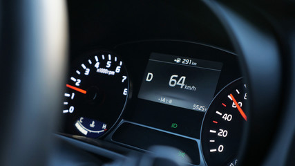 close up of speedometer in modern car, close-up