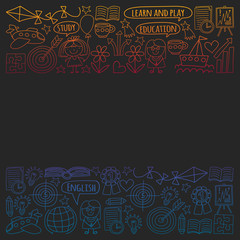 Vector set of learning English language, children's drawing icons in doodle style. Painted, colorful, gradient pictures on a piece of paper on blackboard.