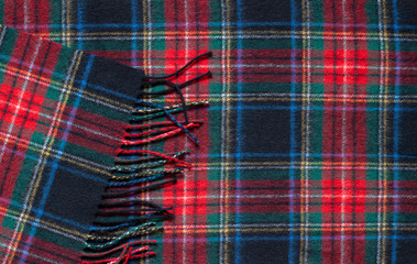 Tartan classic scottish pattern wool scarf background. Close up ornament Wall mural