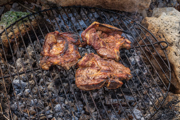 Grill in nature / Seasoned pork steaks cooking on the charcoal bbq grill