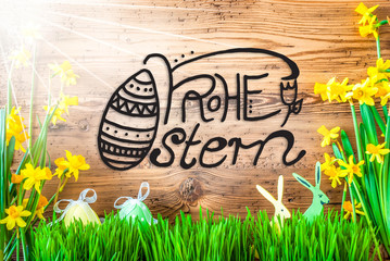 Sunny Easter Decoration, Calligraphy Frohe Ostern Means Happy Easter
