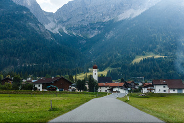 village road in the mountains, Alps