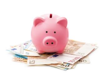 Pink piggy bank on euro banknotes
