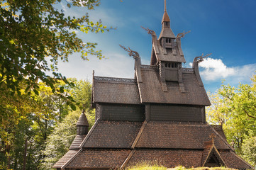 An image of the Fantoft stave church in Bergen